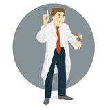 Doctor in medical gown with syringe and candy in hands, flat des Stock Image
