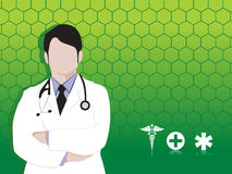 Doctor and medical icons, green  wallpaper Royalty Free Stock Images