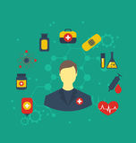 Doctor with medical icons for web design, modern flat style Stock Images