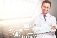 Doctor with medical interface royalty free stock photos