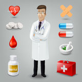 Doctor with medical object. Vector illustration Royalty Free Stock Photo