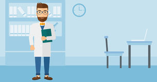 Doctor in medical office. A happy doctor holding a file on the background of medical office vector flat design illustration. Horizontal layout Stock Image