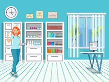 Doctor in the medical office. Window with jalousie and cabinets in the interior of the clinic. Girl in medical uniform. Vector illustration Royalty Free Stock Photo