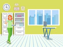 Doctor in the medical office. Window with jalousie and cabinets in the interior of the clinic. Girl in medical uniform. Vector illustration Stock Photos