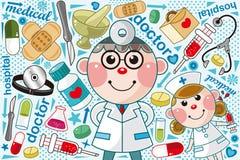 Doctor medical pattern. Cartoon vector illustration Stock Images