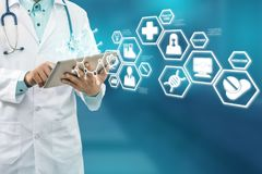 Doctor with Medical Science Icon Modern Interface royalty free stock photography