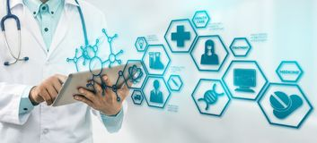 Doctor with Medical Science Icon Modern Interface stock photography