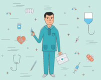Doctor and medical services icons flat line illustration Stock Photography