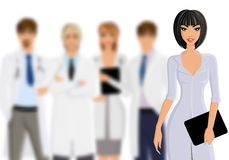Doctor with medical staff Stock Images