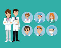 Doctor medical team workers staff green background Stock Photos