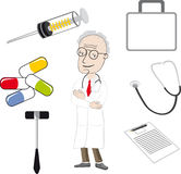 The doctor and medical tools. Doctor ,medical tools, Syringe, tablets, the first-aid set royalty free illustration