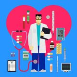 Doctor and medical tools. And equipments around the red heart on a blue background Stock Images