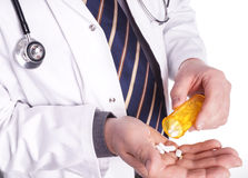 Doctor with Medicin in Hand Royalty Free Stock Photography