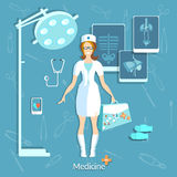 Doctor medicine student beautiful nurse Royalty Free Stock Image