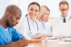 Doctor at the meeting. Royalty Free Stock Photos