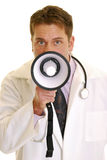 Doctor with megaphone Stock Photos