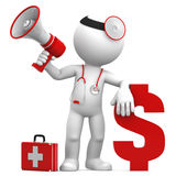 Doctor with megaphone and Dollar currency sign. Isolated over white Royalty Free Stock Image