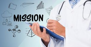 Doctor mid section with clipboard against mission doodles and blue background royalty free illustration
