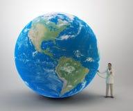 Doctor minúsculo con un globo libre illustration