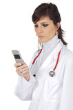 Doctor with mobile Stock Photos