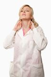 Doctor with neck pain Stock Photo