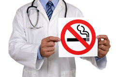 Doctor with no smoking sign Royalty Free Stock Images