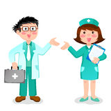 Doctor and nurse. Standing and gesturing with their hands Royalty Free Stock Photo