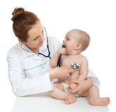 Doctor or nurse auscultating child baby patient heart with steth Stock Image