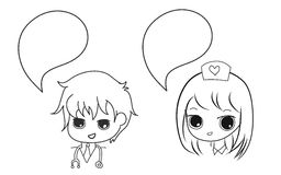 Doctor and nurse with bubble speech anime style hand drawn set Stock Photography