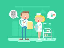 Doctor and nurse character. Hospital medicine, medical professional, care and stethoscope, conversation people. Vector illustration Stock Photography