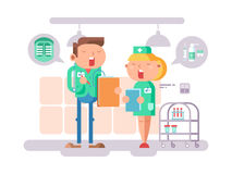 Doctor and nurse character. Hospital medicine, medical professional, care and stethoscope, conversation people. Vector illustration Royalty Free Stock Photos
