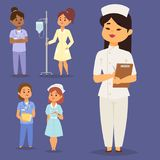 Doctor nurse character vector medical woman staff flat design hospital team people doctorate illustration. Stock Photo