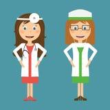 Doctor and Nurse in flat designe Stock Photo