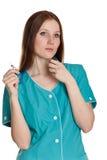 Doctor or nurse in green uniform Stock Photo
