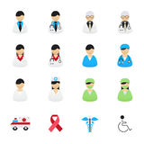 Doctor and Nurse Healthcare Professionals Icons. Set of Health and Medical Icons. Vector Illustration Color Icons Flat Style. Royalty Free Stock Photo