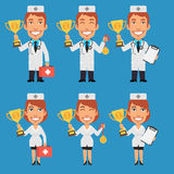 Doctor and Nurse Holding Cup and Medal vector illustration