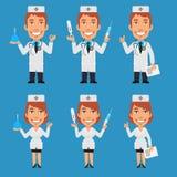 Doctor and Nurse Holding Enema Syringe Thermometer vector illustration