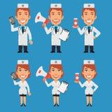 Doctor and Nurse Holding Megaphone Phone Tablet stock illustration