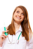 Doctor or nurse holds a syringe, healthcare concept Stock Images