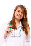 Doctor or nurse holds a syringe, healthcare concept Royalty Free Stock Image