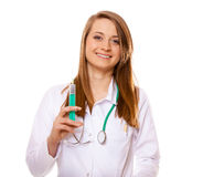 Doctor or nurse holds a syringe, healthcare concept Royalty Free Stock Images
