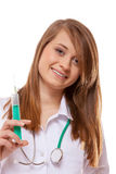 Doctor or nurse holds a syringe, healthcare concept Stock Photos