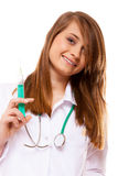 Doctor or nurse holds a syringe, healthcare concept Stock Photography