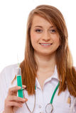 Doctor or nurse holds a syringe, healthcare concept Royalty Free Stock Photography
