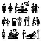 Doctor Nurse Hospital Clinic Medical Surgery. A set of pictogram showing a set of artwork related to doctor, nurse, hospital, clinic, surgery, pregnant, patient stock illustration
