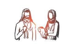 Doctor, nurse, Islam, medicine, clinic concept. Hand drawn isolated vector. Doctor, nurse, Islam, medicine, clinic concept. Hand drawn muslim doctor and nurse vector illustration