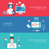 Doctor nurse medical care staff concept flat banner icon set Royalty Free Stock Image