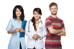 Doctor, nurse, and patient smiling Royalty Free Stock Images