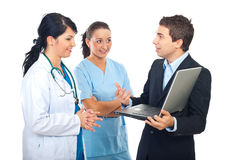 Doctor ,nurse and IT person man Stock Images