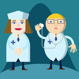 Doctor and nurse preparing for the job. Doctor and nurse preparing for job royalty free illustration